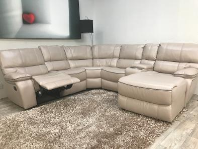 Amore Milano Right Hand Chaise Reclining Corner Sofa With Drinks/storage  Console.